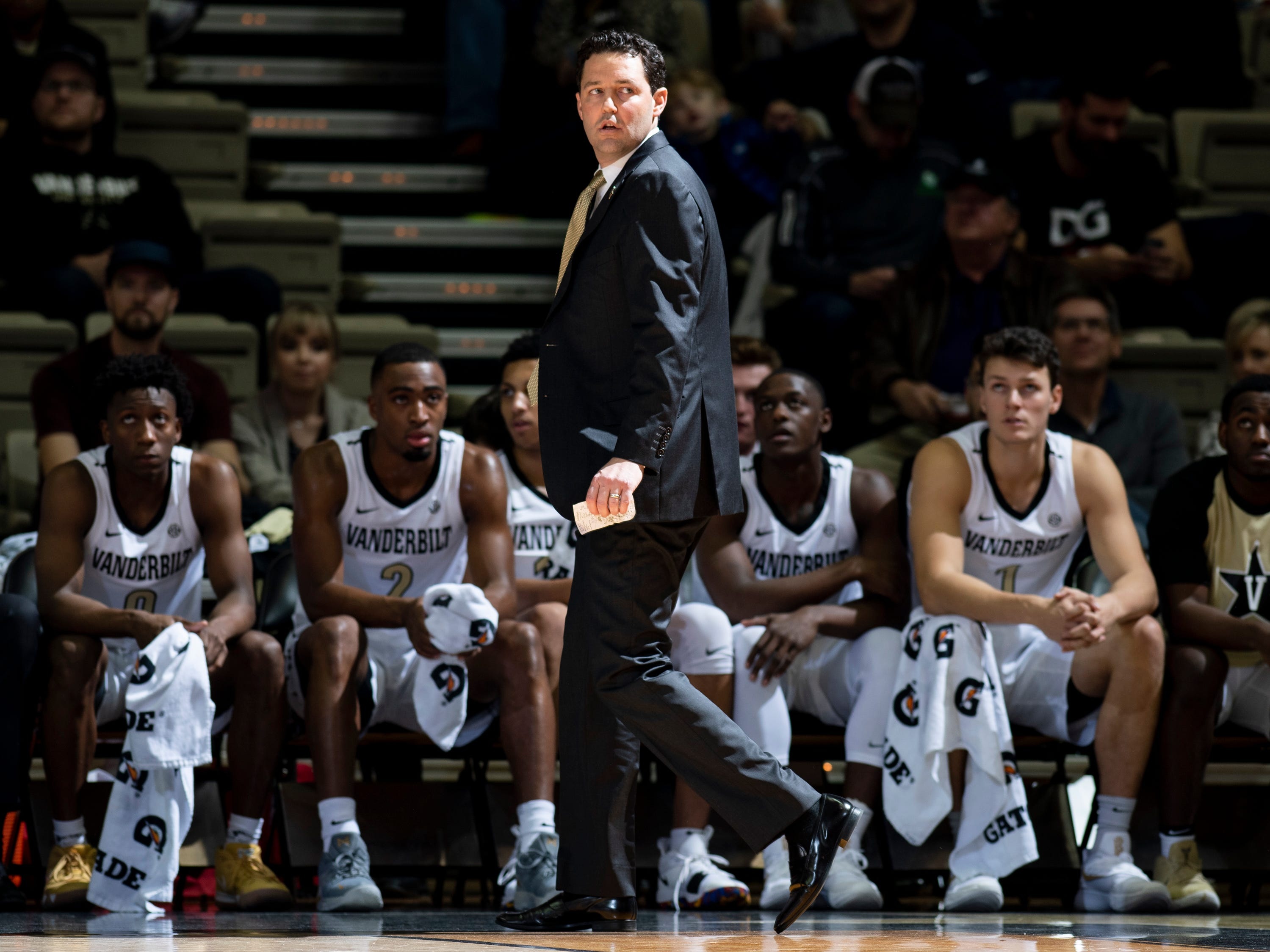 Vanderbilt head coach Bryce Drew watches his team face Alcorn State during the second half at Memorial Gym in Nashville, Tenn., Friday, Nov. 16, 2018.