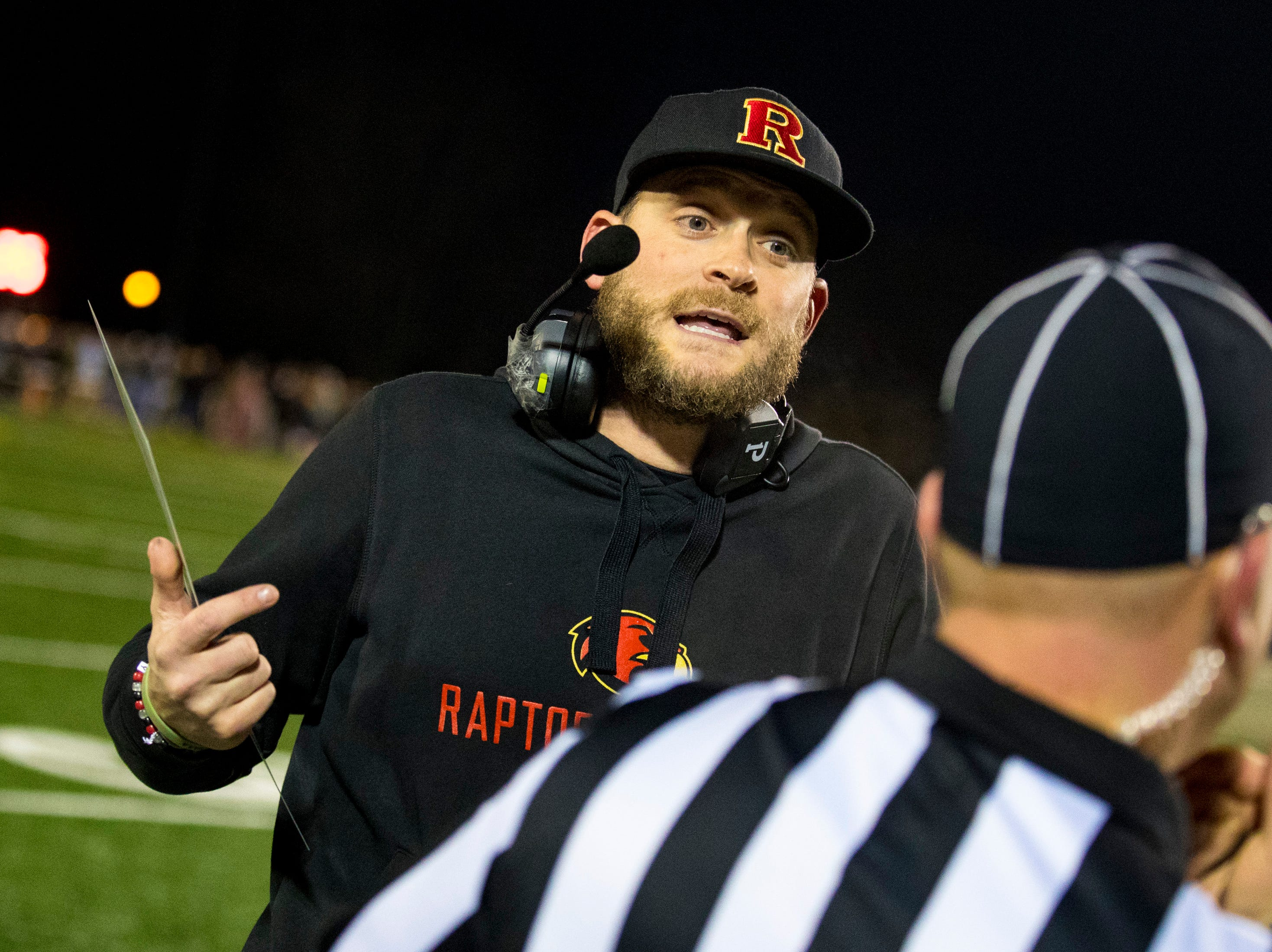 Ravenwood's head coach Matt Daniels argues a penalty during Brentwood's game against Ravenwood at Brentwood High School in Brentwood on Friday, Nov. 16, 2018.