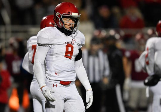 Brentwood Academy linebacker Devyn Curtis (8) waits for a play from the sideline during their 2018 Division II Class AAA State Football Playoff game against MBA at Montgomery Bell Academy Friday, Nov. 16, 2018, in Nashville, Tenn.