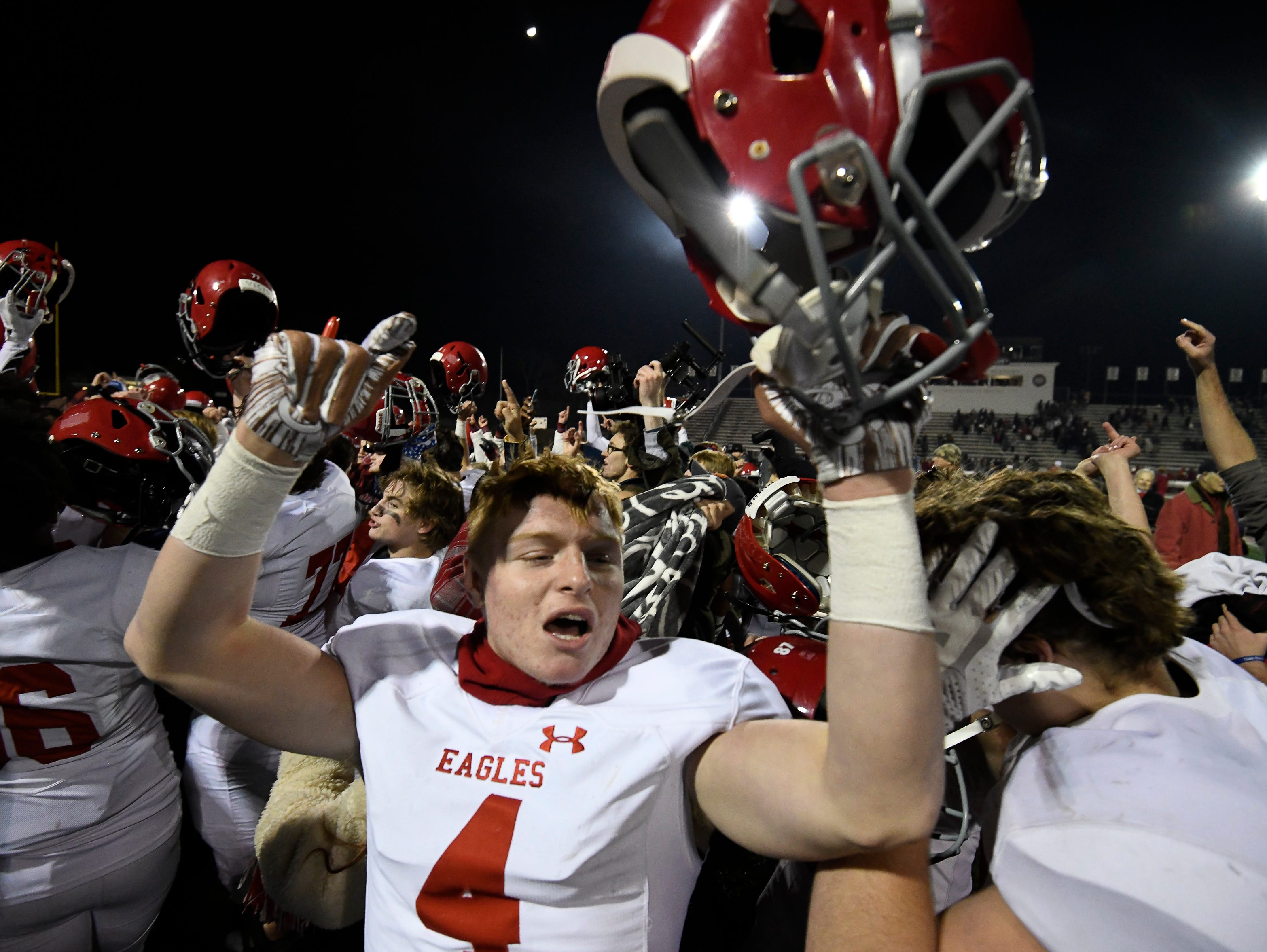 Brentwood Academy celebrates their 28 to 6 win over MBA