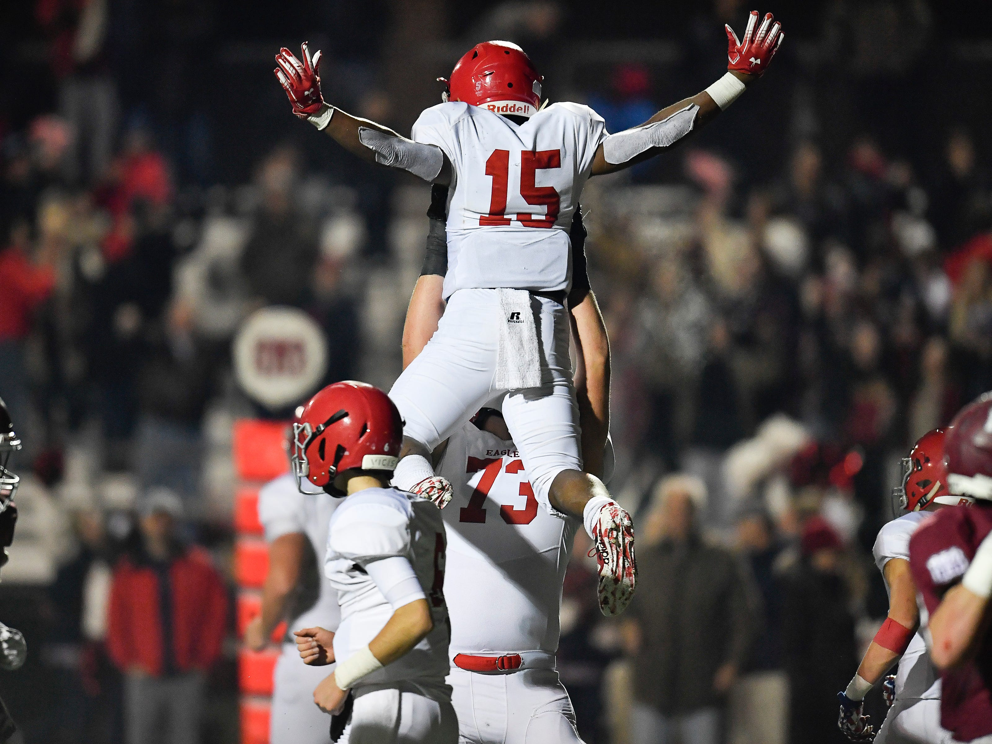 Brentwood Academy running back Jordan James (15) celebrates his touchdown during the fourth quarter of their 2018 Division II Class AAA State Football Playoff game against MBA at Montgomery Bell Academy Friday, Nov. 16, 2018, in Nashville, Tenn.