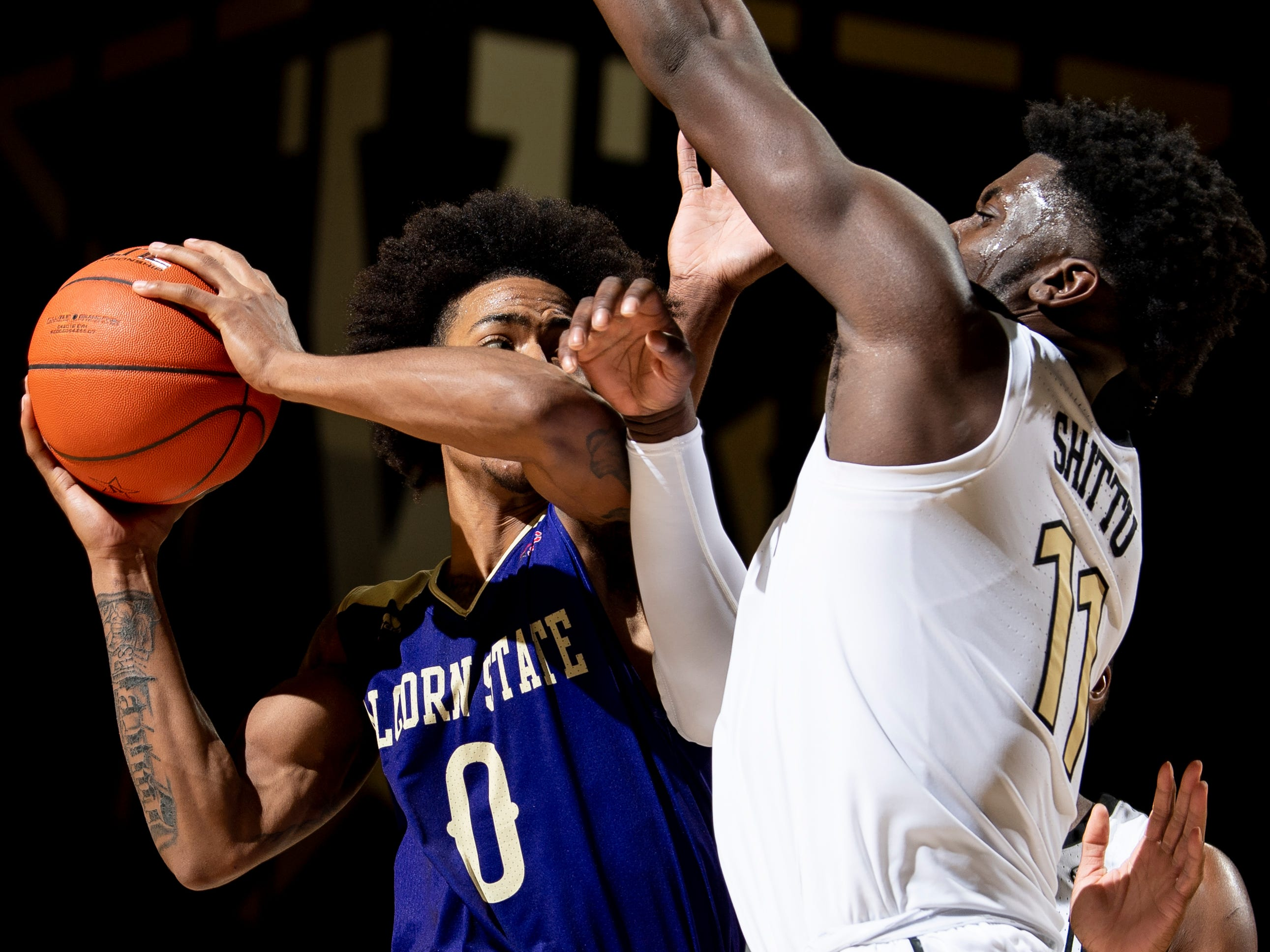 Alcorn State guard Troymain Crosby (0) shoots over Vanderbilt forward Simisola Shittu (11) during the second half at Memorial Gym in Nashville, Tenn., Friday, Nov. 16, 2018.