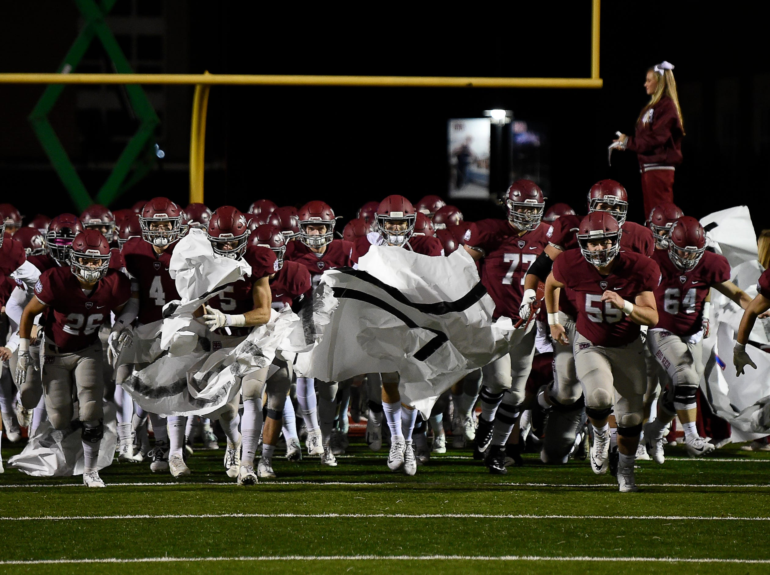 MBA takes the field for their 2018 Division II Class AAA State Football Playoff game against Brentwood Academy at Montgomery Bell Academy Friday, Nov. 16, 2018, in Nashville, Tenn.