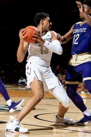 Vanderbilt forward Matthew Moyer (13) battles Alcorn State forward DeShaw Andrews (12) during the first half at Memorial Gym in Nashville, Tenn., Friday, Nov. 16, 2018.
