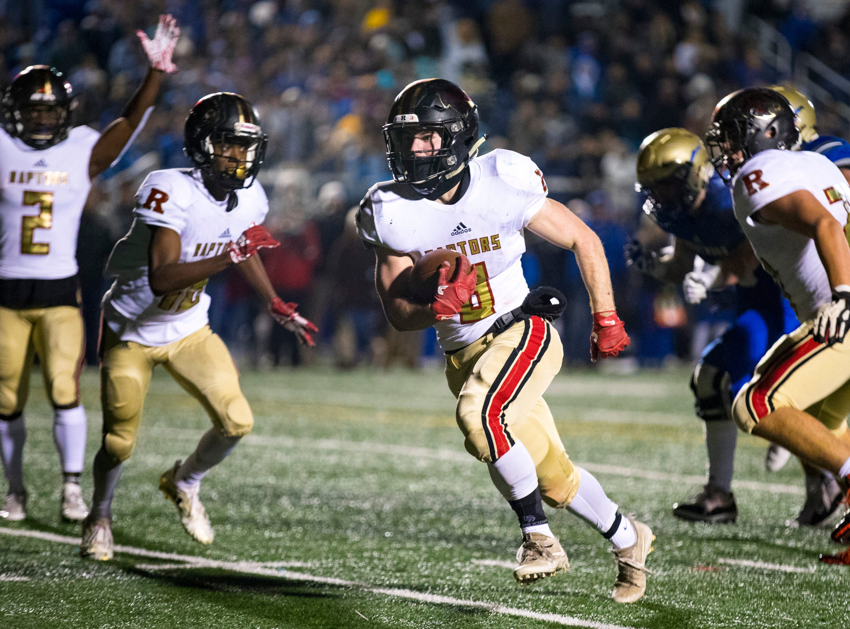 Ravenwood's Rodney Baine (8) runs into the endzone during Brentwood's game against Ravenwood at Brentwood High School in Brentwood on Friday, Nov. 16, 2018.