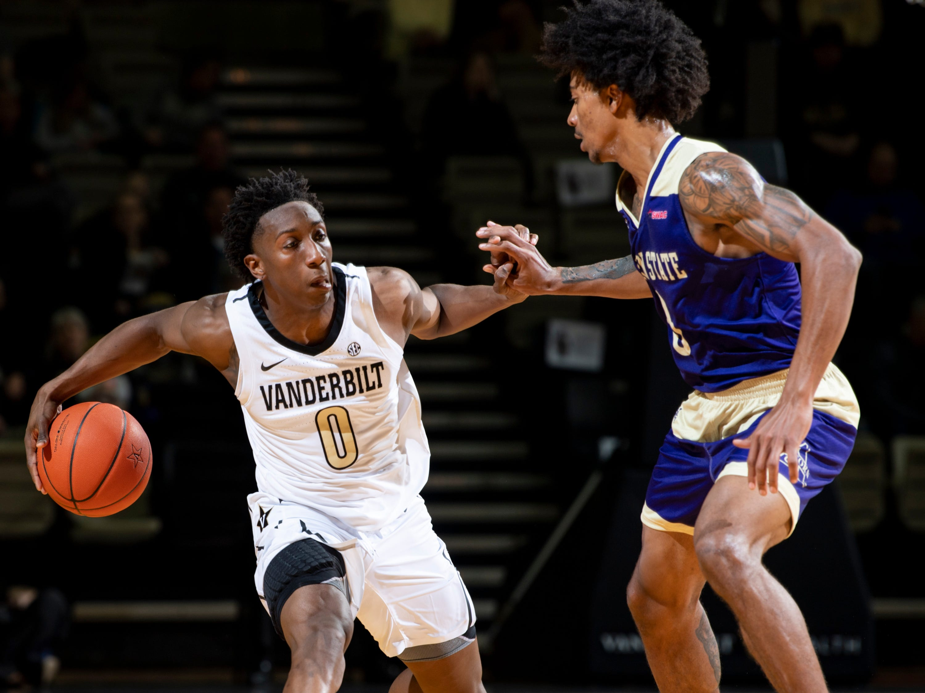 Vanderbilt guard Saben Lee (0) is guarded by Alcorn State guard Troymain Crosby (0) during the first half at Memorial Gym in Nashville, Tenn., Friday, Nov. 16, 2018.