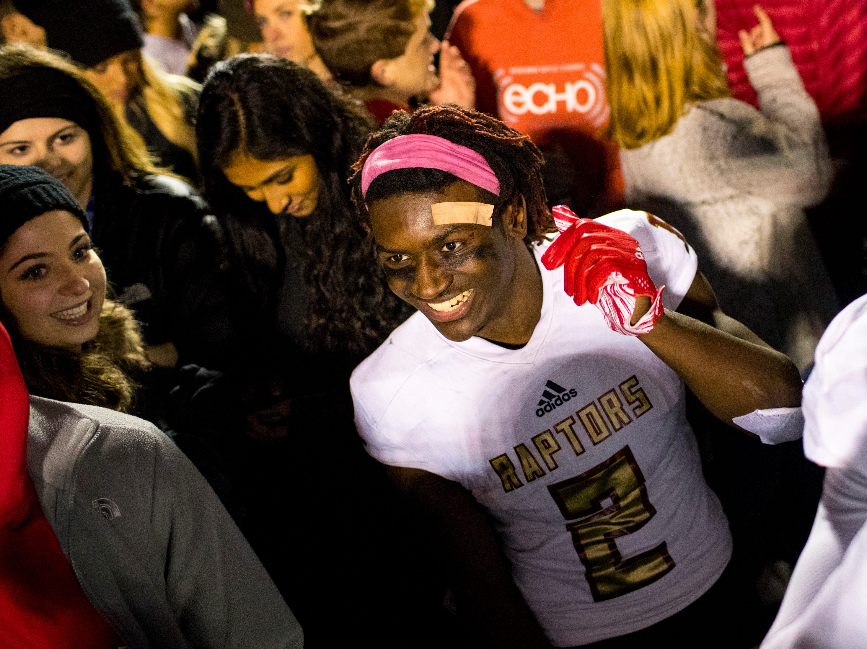 Ravenwood's Anthony Holmes (2) dances after Brentwood's game against Ravenwood at Brentwood High School in Brentwood on Friday, Nov. 16, 2018.