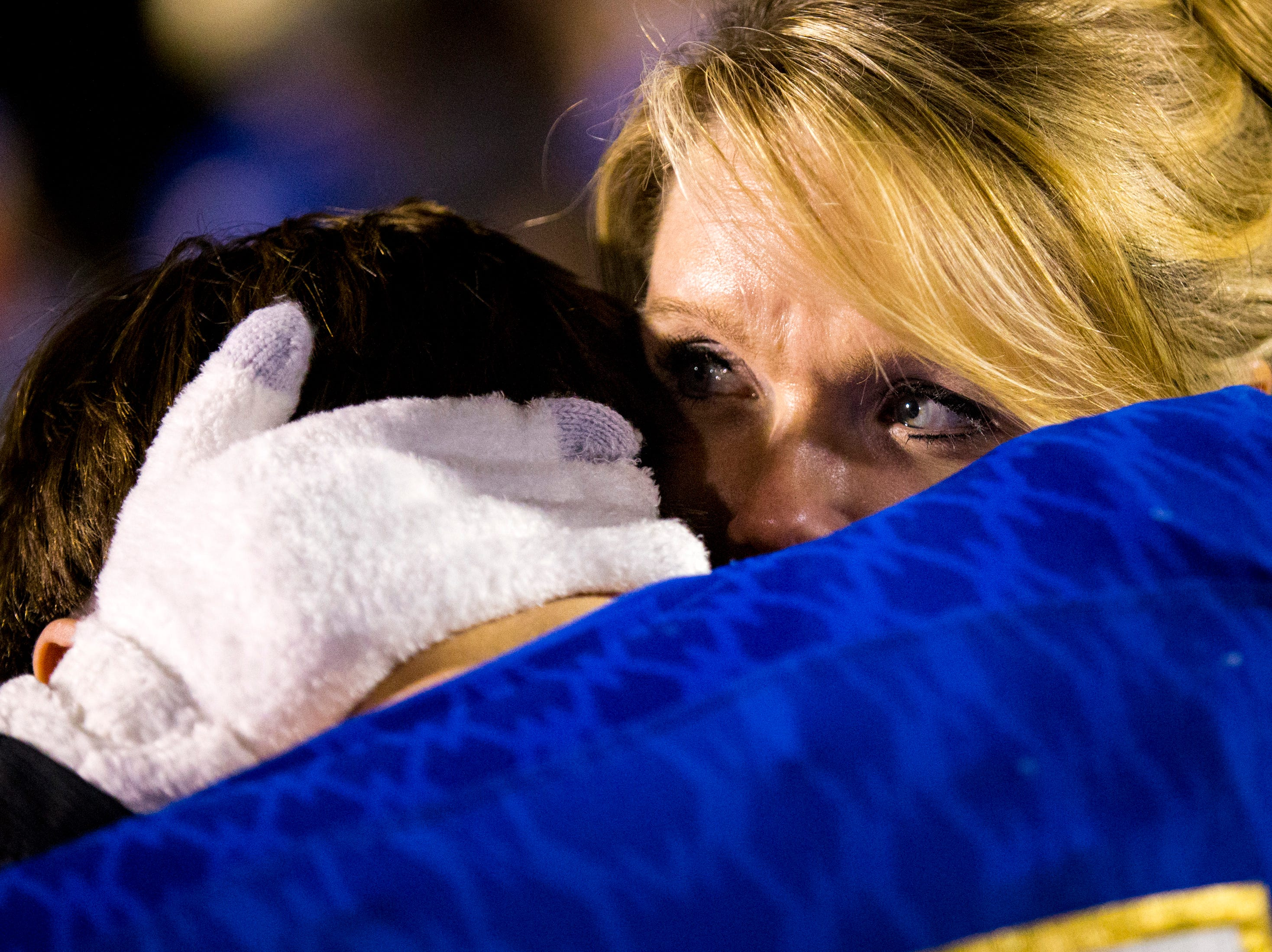 Andrea Hassenpflug comforts her son, Brentwood's Caleb Hassenpflug (15) after Brentwood's game against Ravenwood at Brentwood High School in Brentwood on Friday, Nov. 16, 2018.