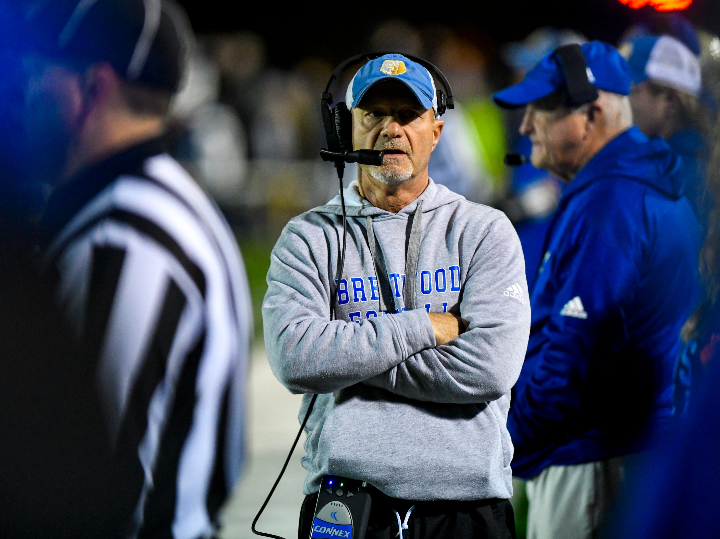 Brentwood's head coach Ron Crawford during Brentwood's game against Ravenwood at Brentwood High School in Brentwood on Friday, Nov. 16, 2018.