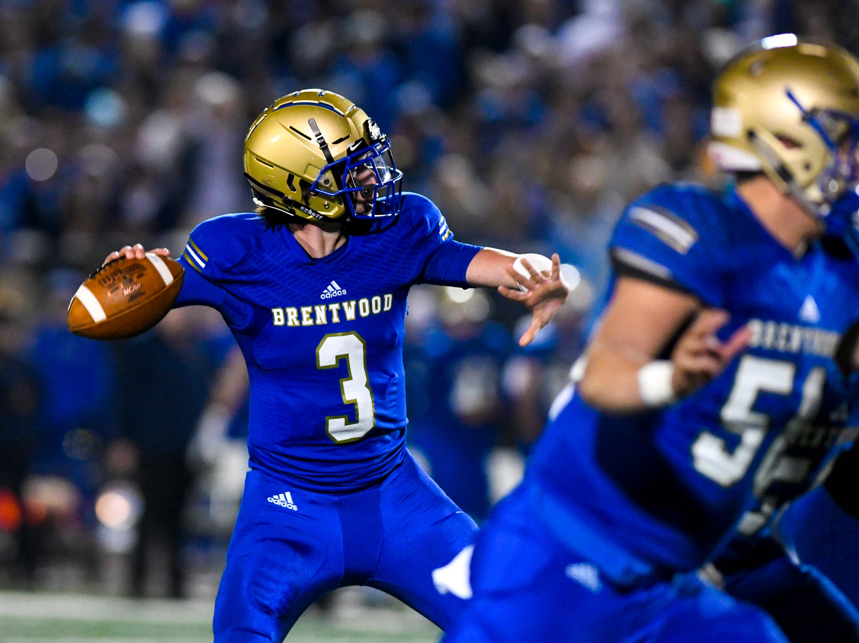 Brentwood's Cade Granzow (3) passes during Brentwood's game against Ravenwood at Brentwood High School in Brentwood on Friday, Nov. 16, 2018.