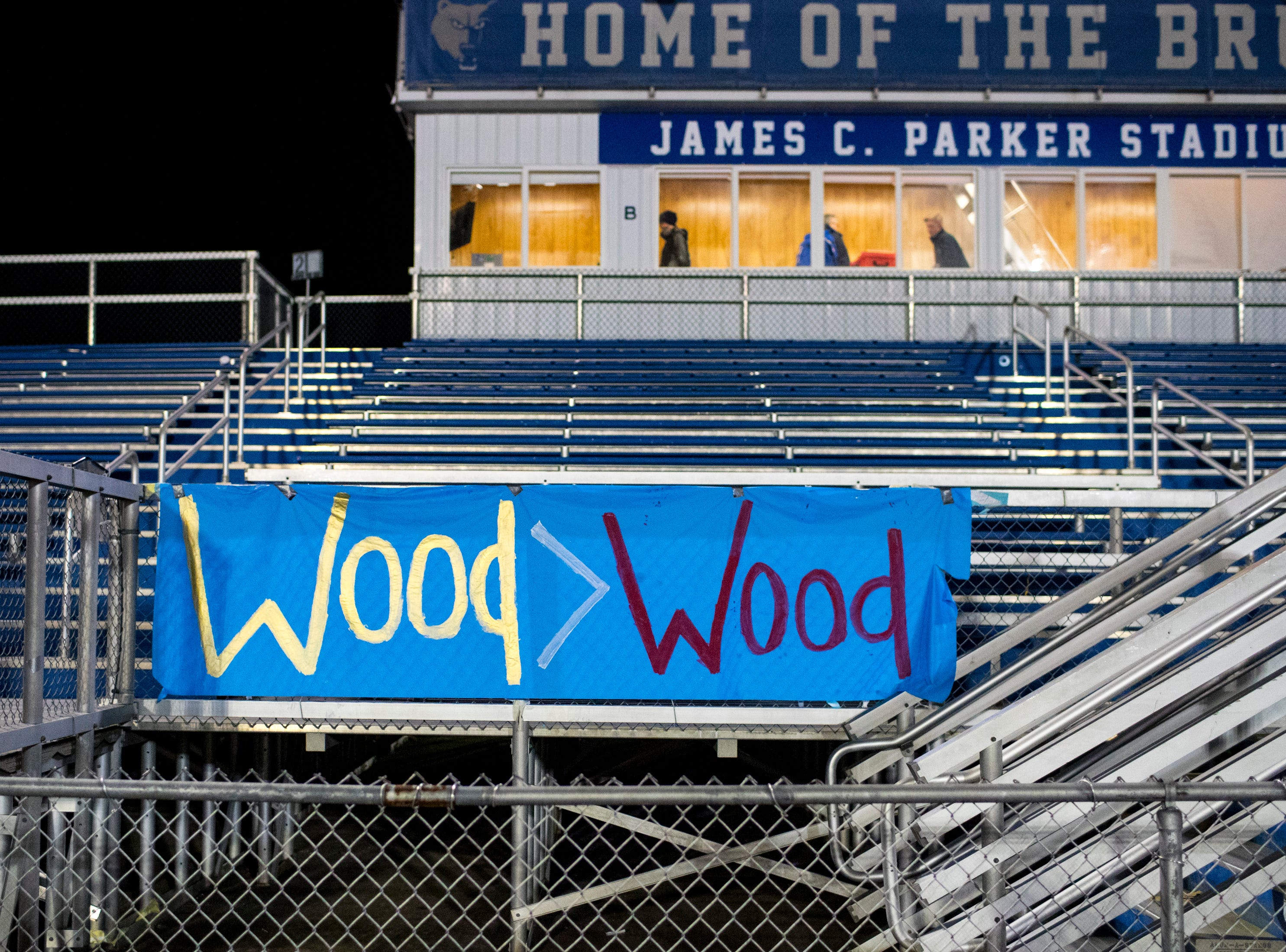 A sign is left on Brentwood's side of the stadium after Brentwood's game against Ravenwood at Brentwood High School in Brentwood on Friday, Nov. 16, 2018.
