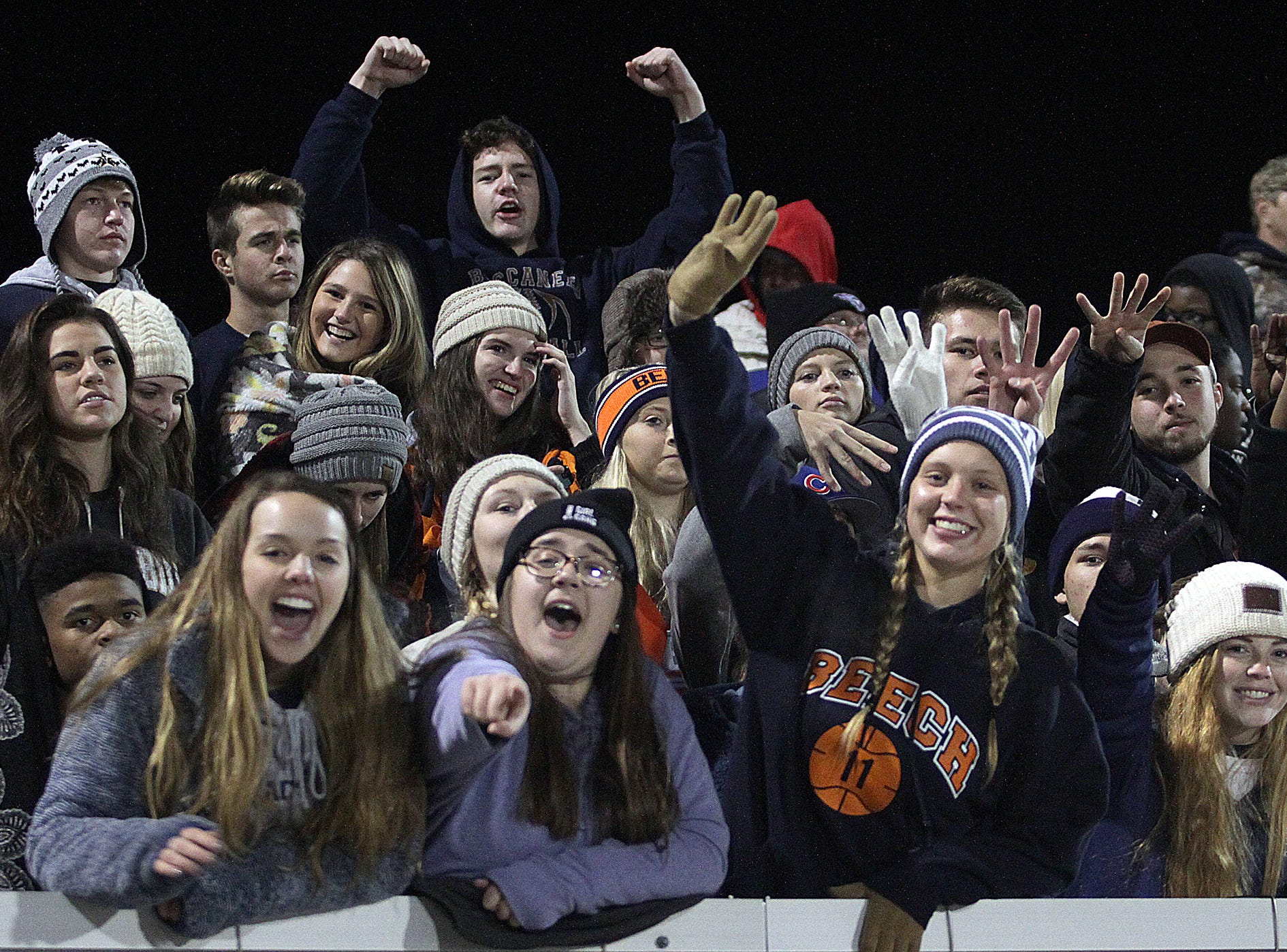 Beech fans cheer as they play Hillsboro on Friday, November 16, 2018.