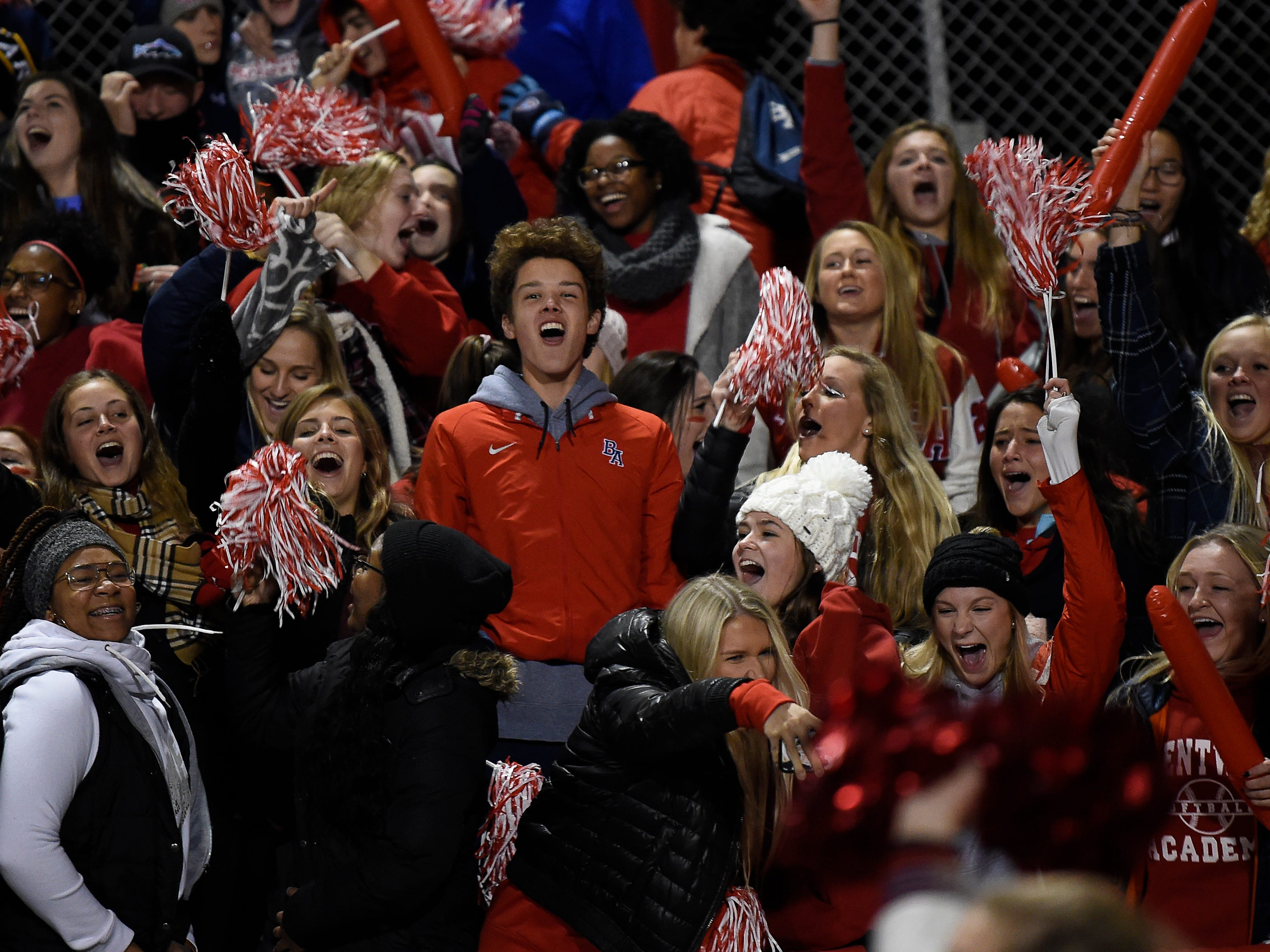 Brentwood Academy fans cheer for their team during their 2018 Division II Class AAA State Football Playoff game against MBA at Montgomery Bell Academy Friday, Nov. 16, 2018, in Nashville, Tenn.