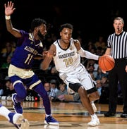 Alcorn State guard Maurice Howard (11) guards Vanderbilt guard Darius Garland (10) during the first half at Memorial Gym in Nashville, Tenn., Friday, Nov. 16, 2018.