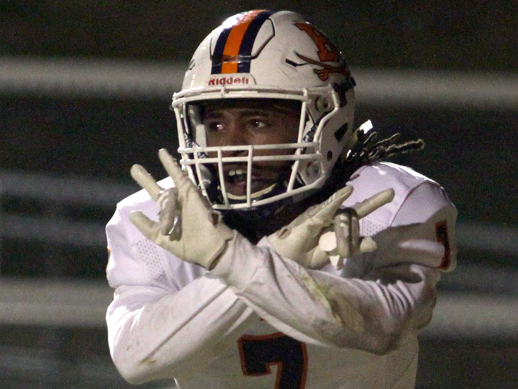 Beech's Ja'Sean Parks celebrates after scoring Beech's first TD against Hillsboro on Friday, November 16, 2018.