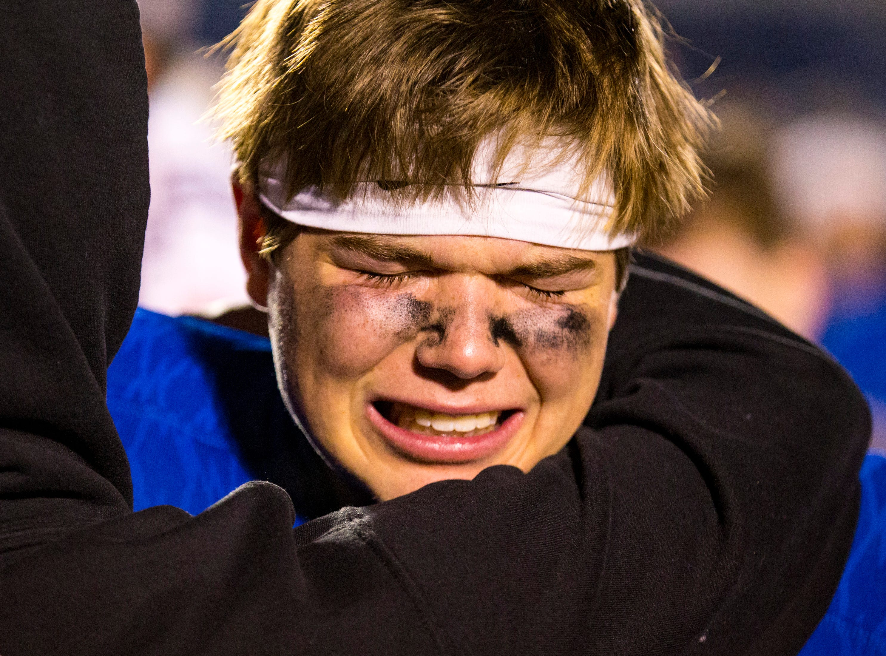 Brentwood's Caleb Hassenpflug (15) is emotional after Brentwood's game against Ravenwood at Brentwood High School in Brentwood on Friday, Nov. 16, 2018.