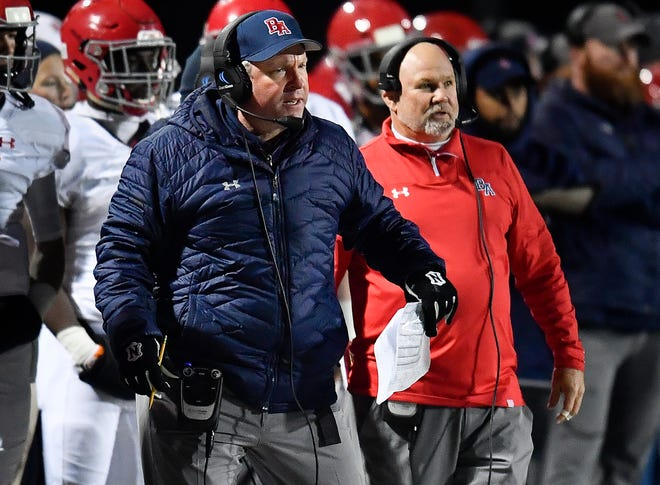 Brentwood Academy head coach Cody White yells at his team during their 2018 Division II Class AAA State Football Playoff game against MBA at Montgomery Bell Academy Friday, Nov. 16, 2018, in Nashville, Tenn.