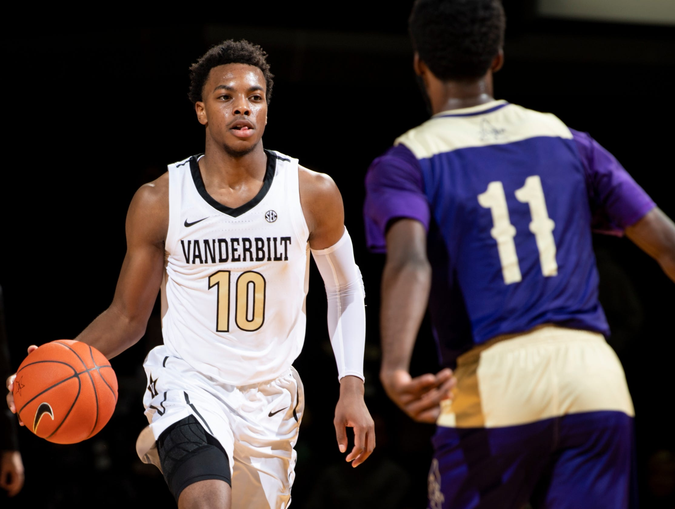 Vanderbilt guard Darius Garland (10) advances into Alcorn State guard Maurice Howard (11) during the first half at Memorial Gym in Nashville, Tenn., Friday, Nov. 16, 2018.