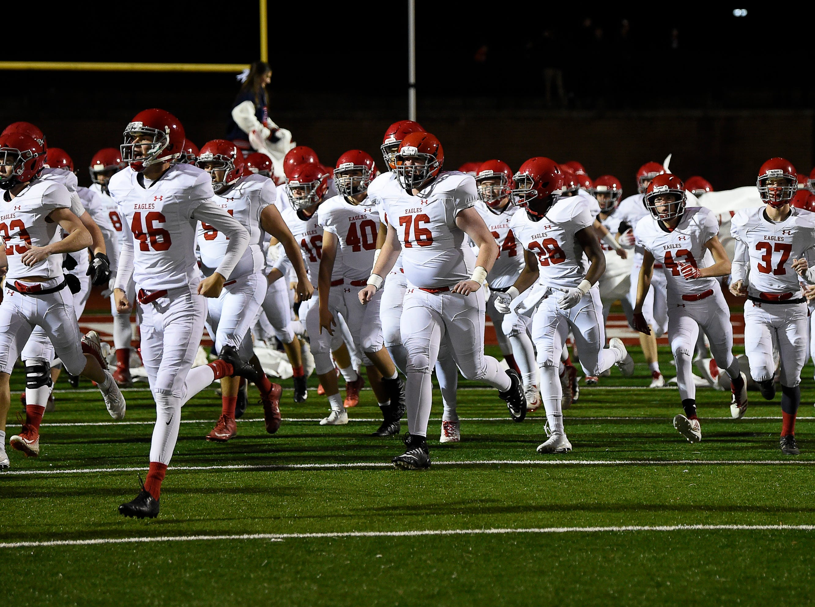 Brentwood Academy takes the field for their 2018 Division II Class AAA State Football Playoff game against MBA at Montgomery Bell Academy Friday, Nov. 16, 2018, in Nashville, Tenn.