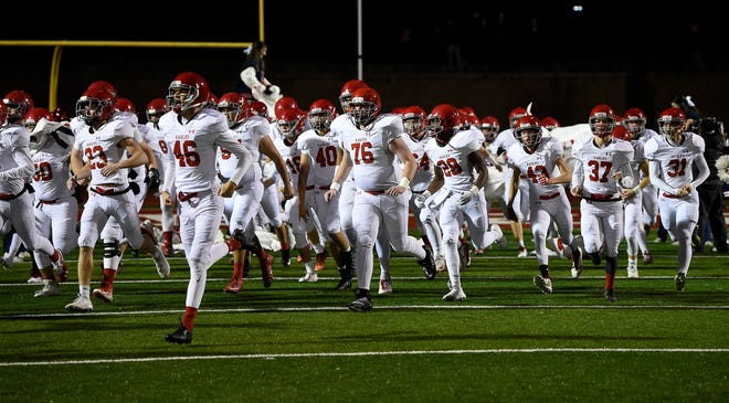 Brentwood Academy takes the field before playing Montgomery Bell Academy on Friday.