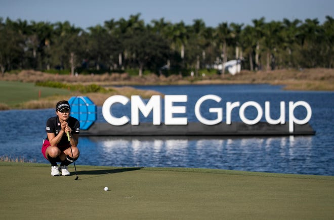 So Yeon Ryu lines up a putt on the 18th green during the third round of the CME Group Tour Championship on Saturday at Tiburón Golf Club in Naples.