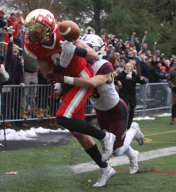 Garrett Cody of Bergen Catholic has this pass broken up in the end zone by Michael Courtney of Don Bosco in the second half.