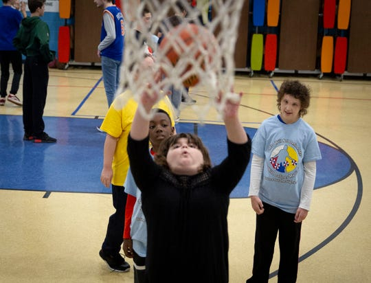 Julia Clemente, 8 of Elmwood Park, practices during a drill at the Bounce Out the Stigma project basketball camp on November 17, 2018 at the Hawthorne Boys and Girls Club in Hawthorne, NJ.