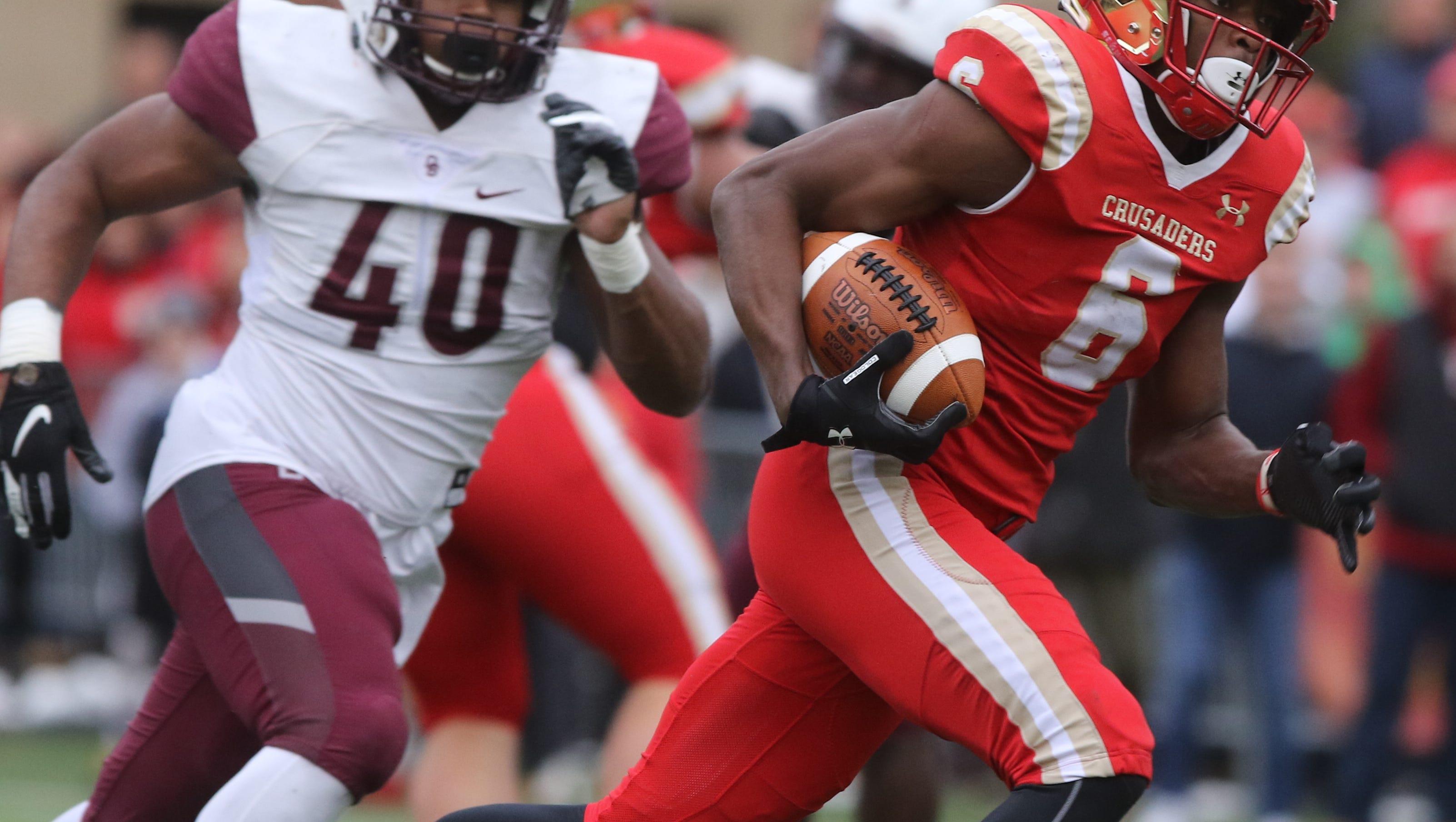 Rahmir Johnson of Bergen Catholic runs for a second half touchdown on this play.