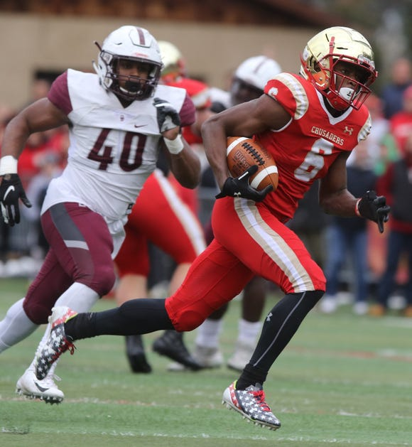 Rahmir Johnson of Bergen Catholic runs for a second half touchdown on this play.