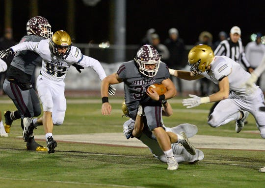 Michael Joyce of Wayne Hills runs the ball in the North 1, Group 4 football championship game against NV/Old Tappan in Wayne on Friday, Nov. 16, 2018