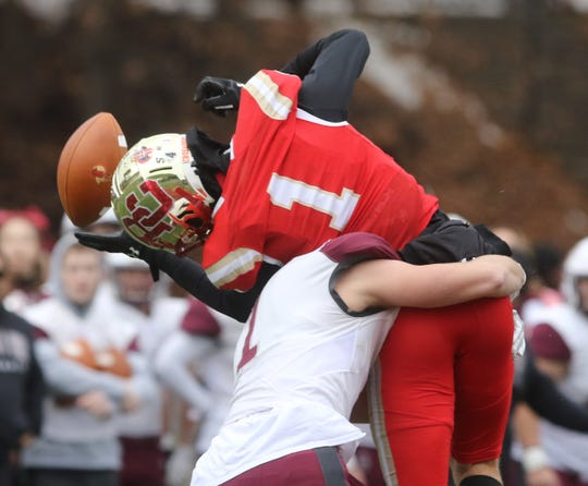 Jason Haber of Don Bosco breaks up this pass meant for Pierson Tobia of Bergen Catholic in the first quarter.