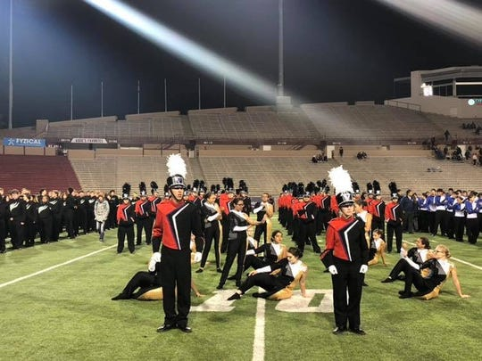 Students from the Las Cruces High School band compete in the Tournament of Bands at New Mexico State University's Aggie Memorial Stadium.