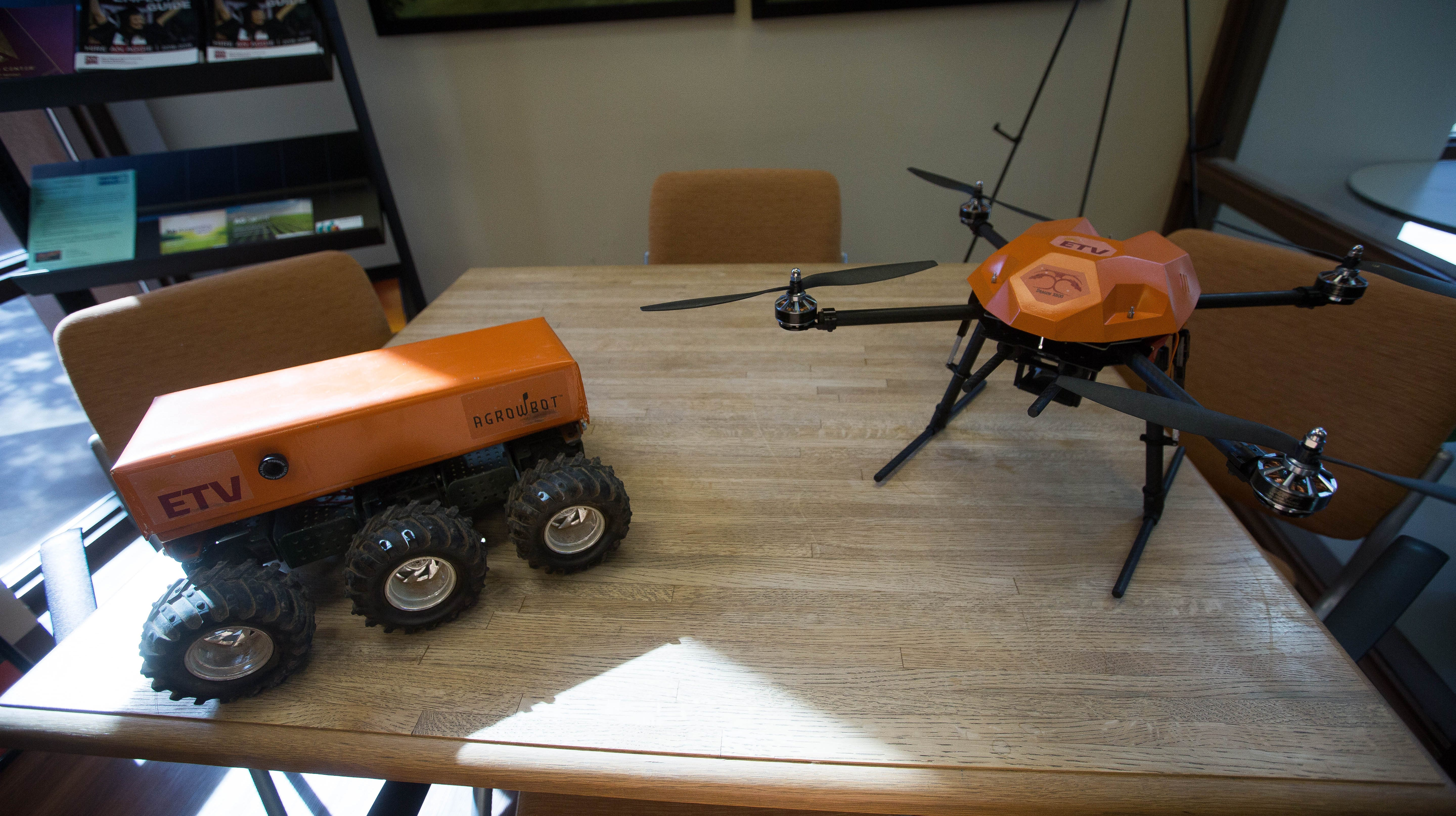 A ground bot and a drone programed with GreenAI, an Artificial Intelligence  system they build, which is used for collecting data around fields for farmers to be better informed. Wednesday November 14, 2018.
