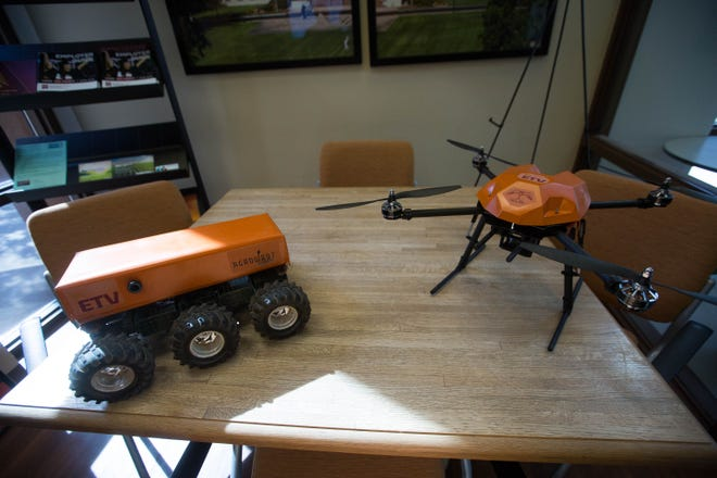 A ground bot and a drone programmed with GreenAI, an Artificial Intelligence system that is used for collecting data around fields for farmers to be better informed. Wednesday November 14, 2018.