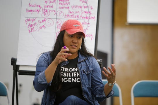 Jordan Cocker, a trainer for the Indigenous 20 Something Project, talks about living in balance during a session on Friday at San Juan College Henderson Fine Arts Center in Farmington.