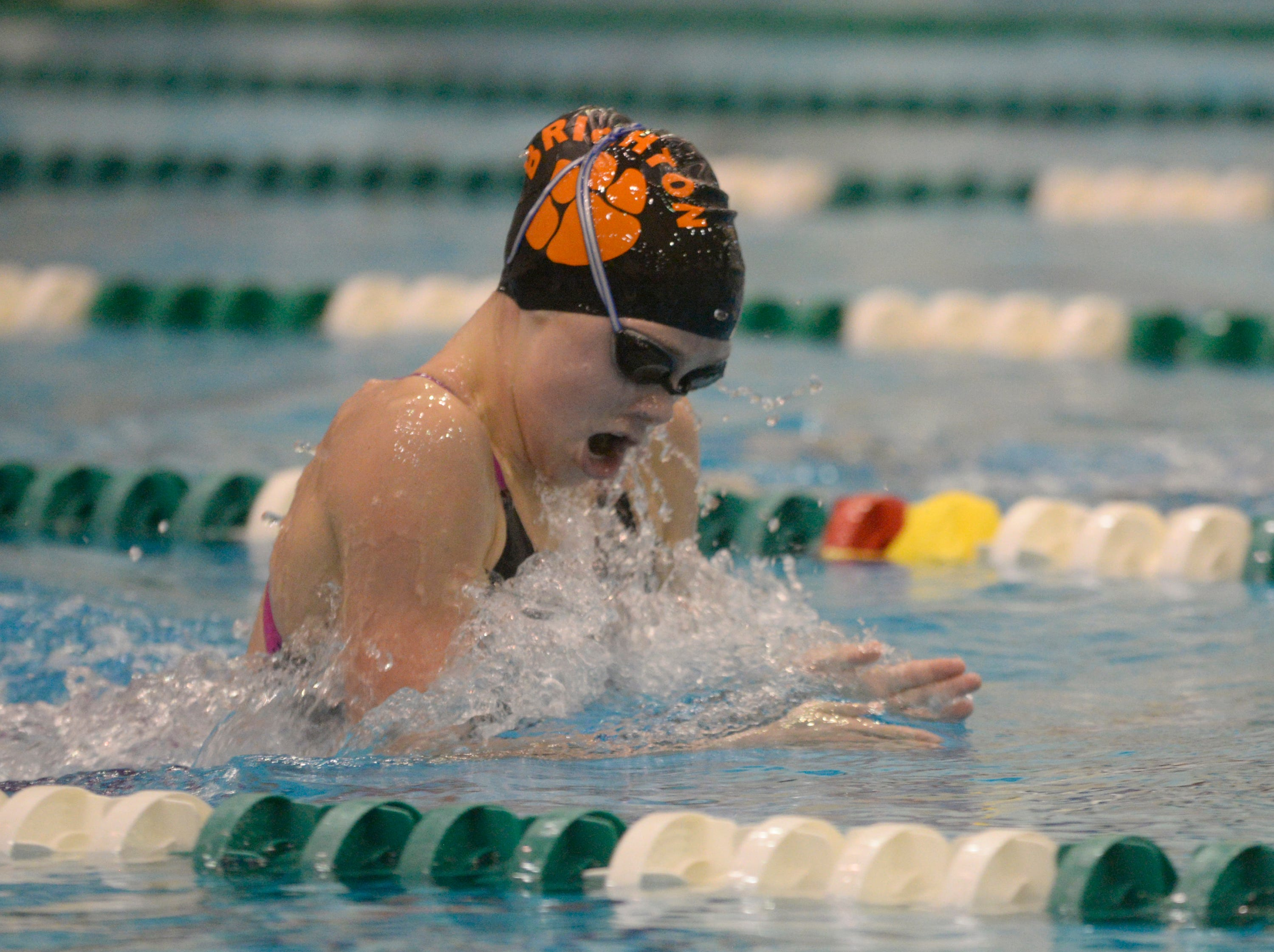 Brighton's Lindsey Witte in the 200 IM at the Division 1 girls swimming and diving championships held at Eastern Michigan University Nov. 17, 2018.