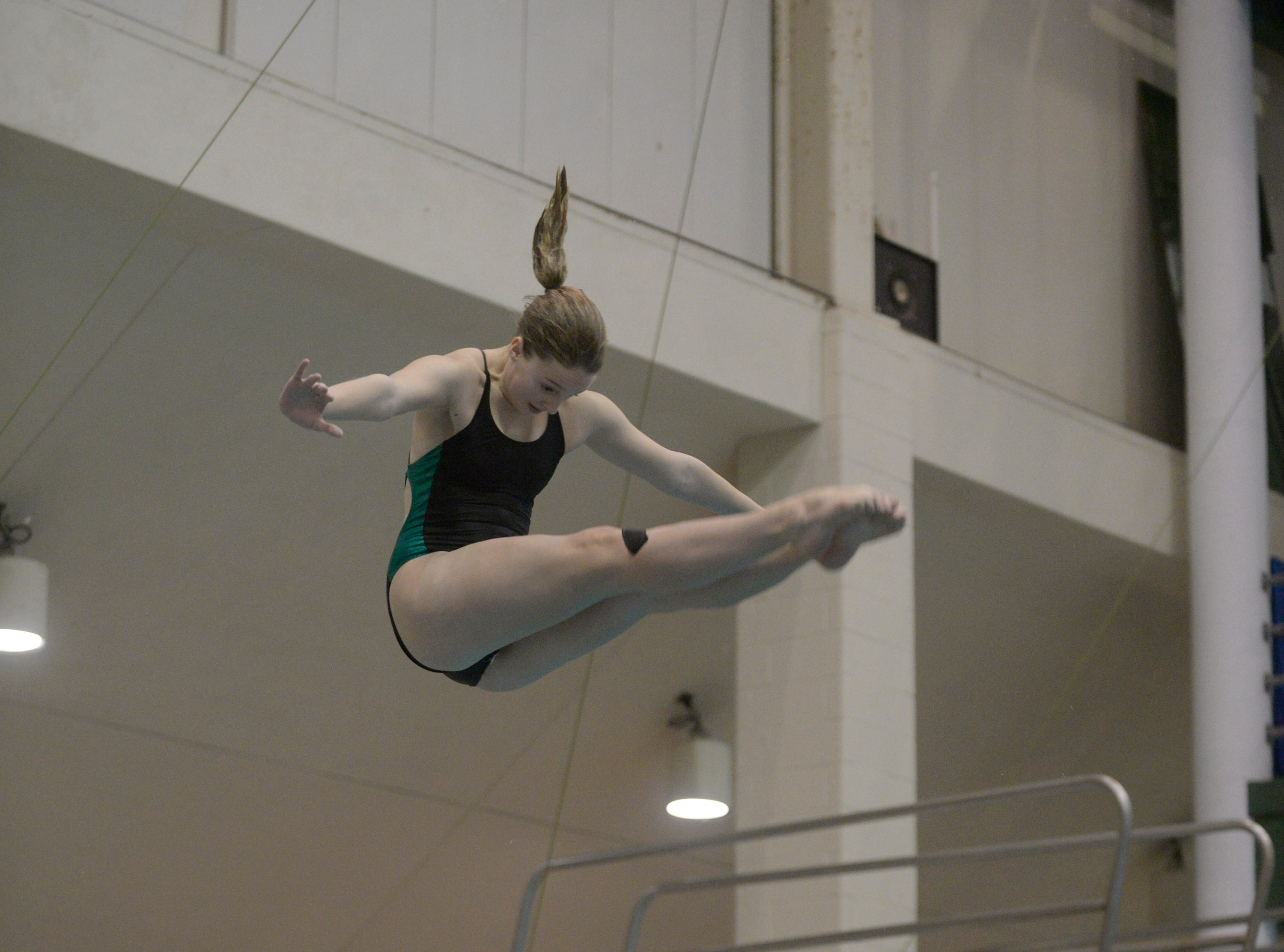Mercy diver McKaela Hill at the Division 1 girls swimming and diving championships held at Eastern Michigan University Nov. 17, 2018.