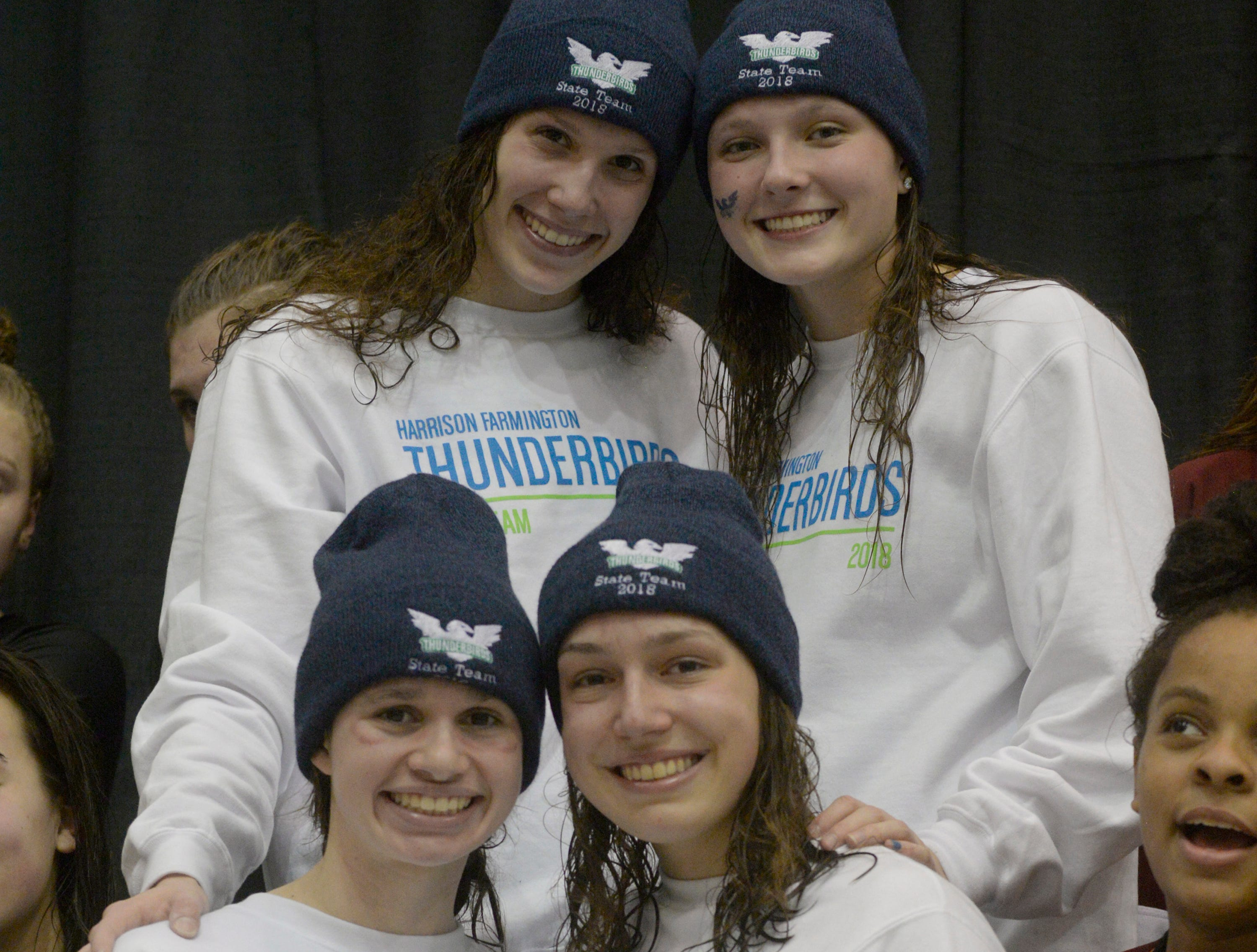 Harrison/Farmington's winning 400 free style relay team at the Division 1 girls swimming and diving championships held at Eastern Michigan University Nov. 17, 2018.