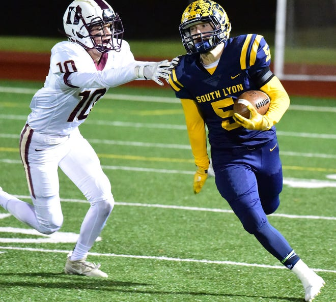 Ian Goins (5) was one of 11 South Lyon football players to earn Lakes Valley Conference all-star recognition.