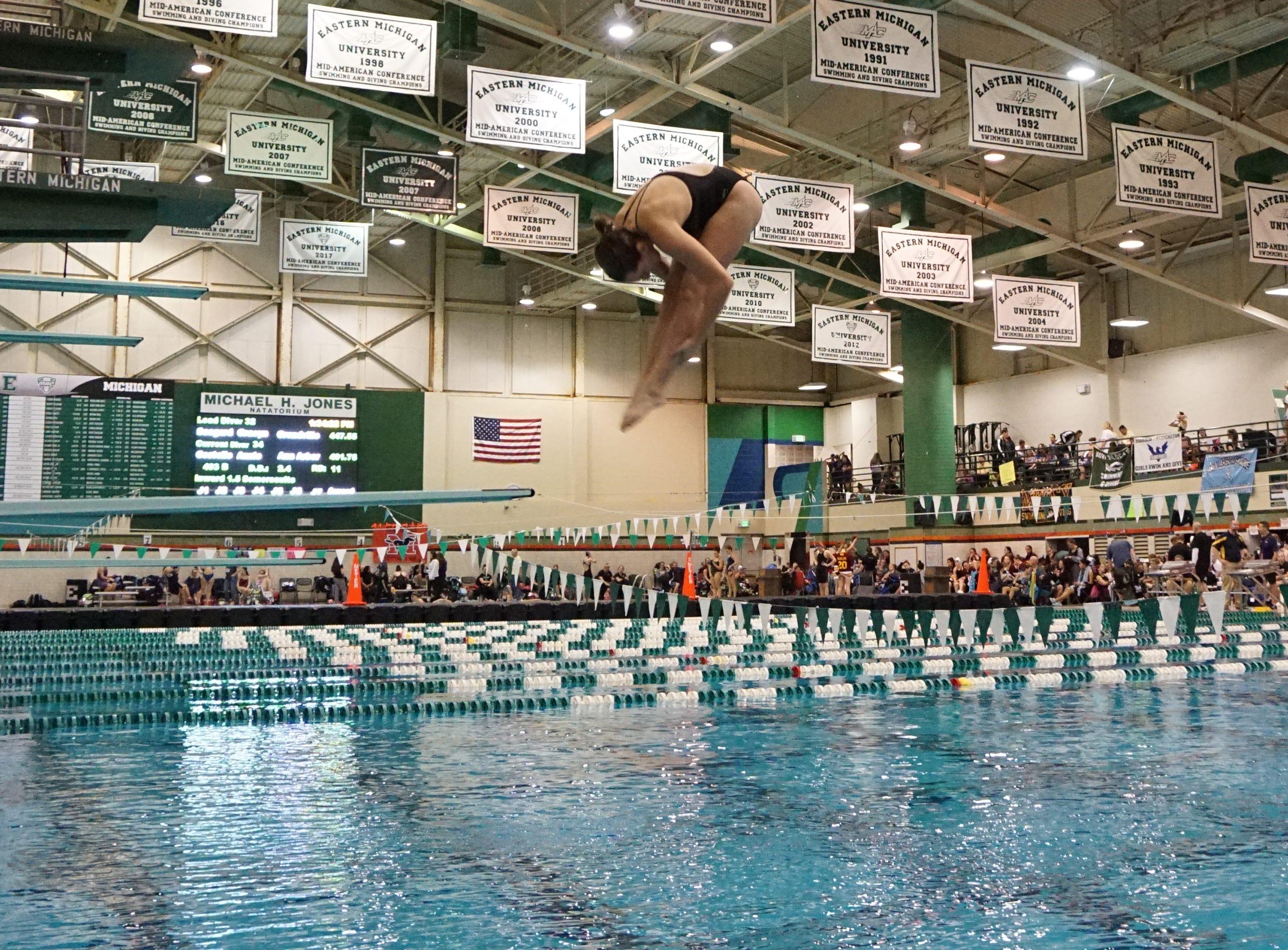 Diving finals at the Division 1 girls swimming and diving championships held at Eastern Michigan University Nov. 17, 2018.