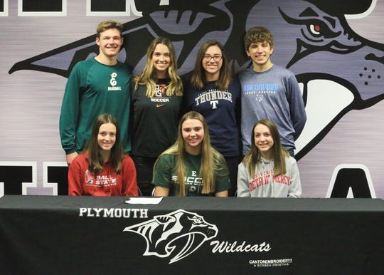 On Nov. 14, seven Plymouth Wildcats senior student-athletes officially signed NCAA letters of intent. Those included (front row, from left) Jessica Braun (D-I women's tennis at Ball State University), Rebecca Przybylo (D-1 women's soccer at Eastern Michigan University), Shae Zydeck (D-I women's golf at University of Detroit-Mercy). Back row, from left, are Anthony Sharkas (D-1 baseball, Eastern Michigan University), Kennedy White (D-I women's soccer, Bowling Green University), Maire Sullivan (D-III women's golf, Trine University) and Brandon Boyd (D-II men's track/cross country at Northwood University.