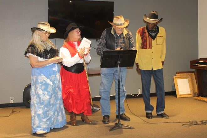 Participants take the stage for Desert Hot Springs Senior Center's annual talent show, which takes place a week before Thanksgiving.