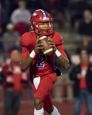 Quarterback Ladarius Clardy (2) looks for an open receiver during the Crestview vs Pine Forest playoff football game at Pine Forest High School on Friday, November 16, 2018.