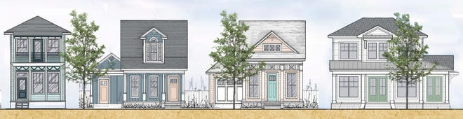 A drawing shows the four home designs to be built at the Garden District Cottages.
