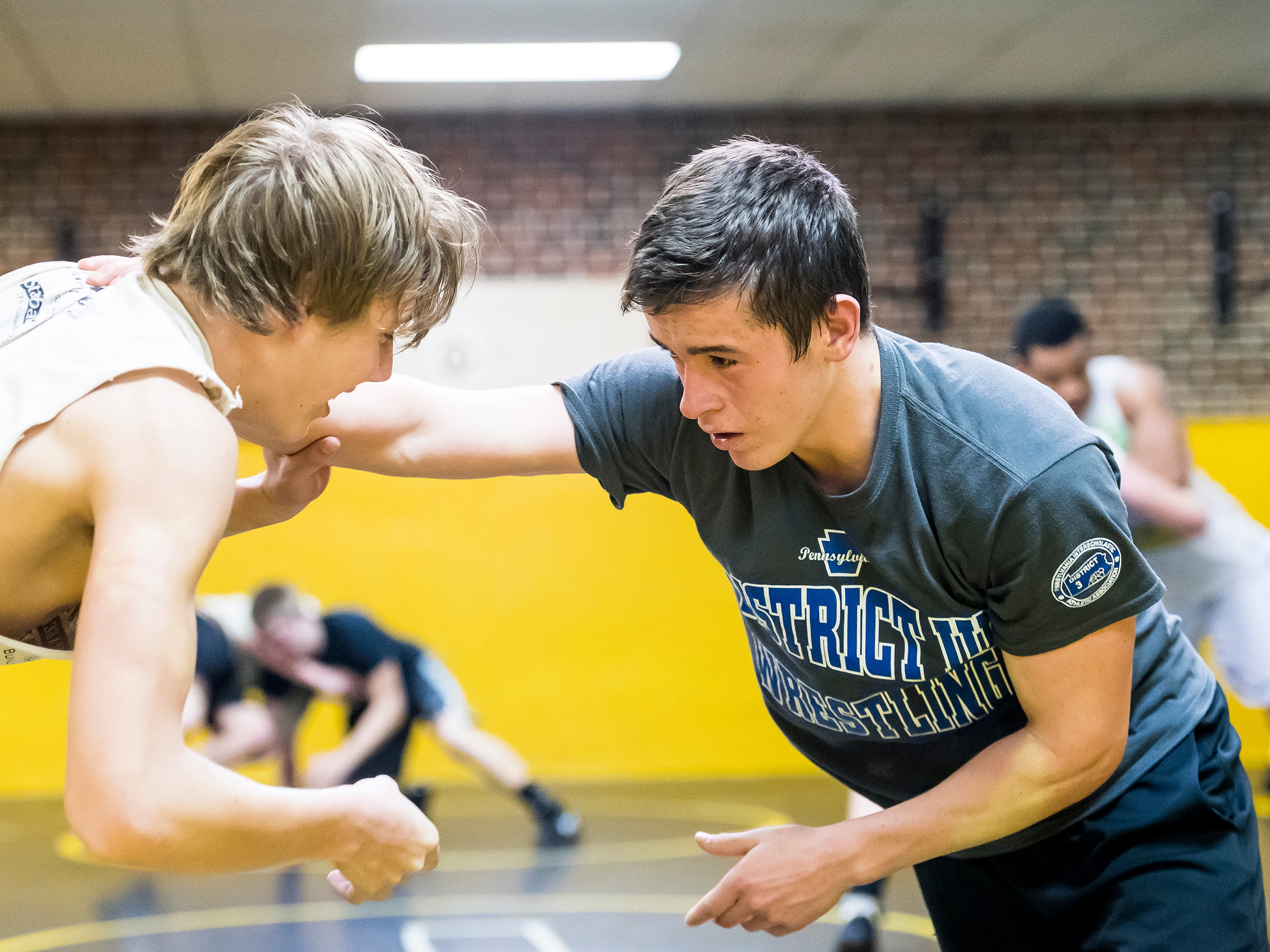 Delon Catholic's Robert Partenza, right, and AJ Knobloch wrestle during the first official day of winter sports practice on Friday, November 16, 2018.