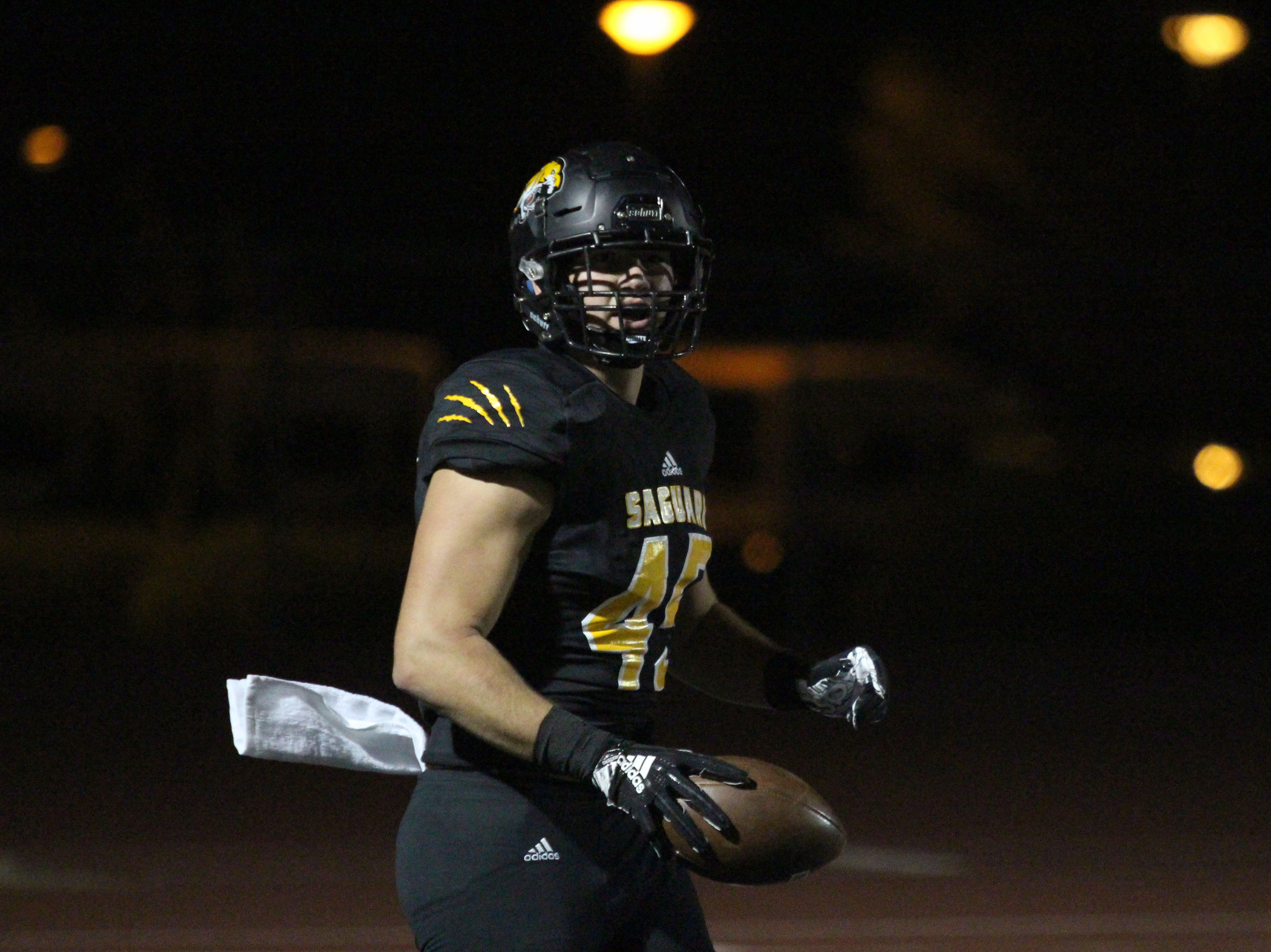 Saguaro's Hogan Hatten after scoring a touchdown against Desert Edge on Friday night at Coronado High School on Nov. 16, 2018.