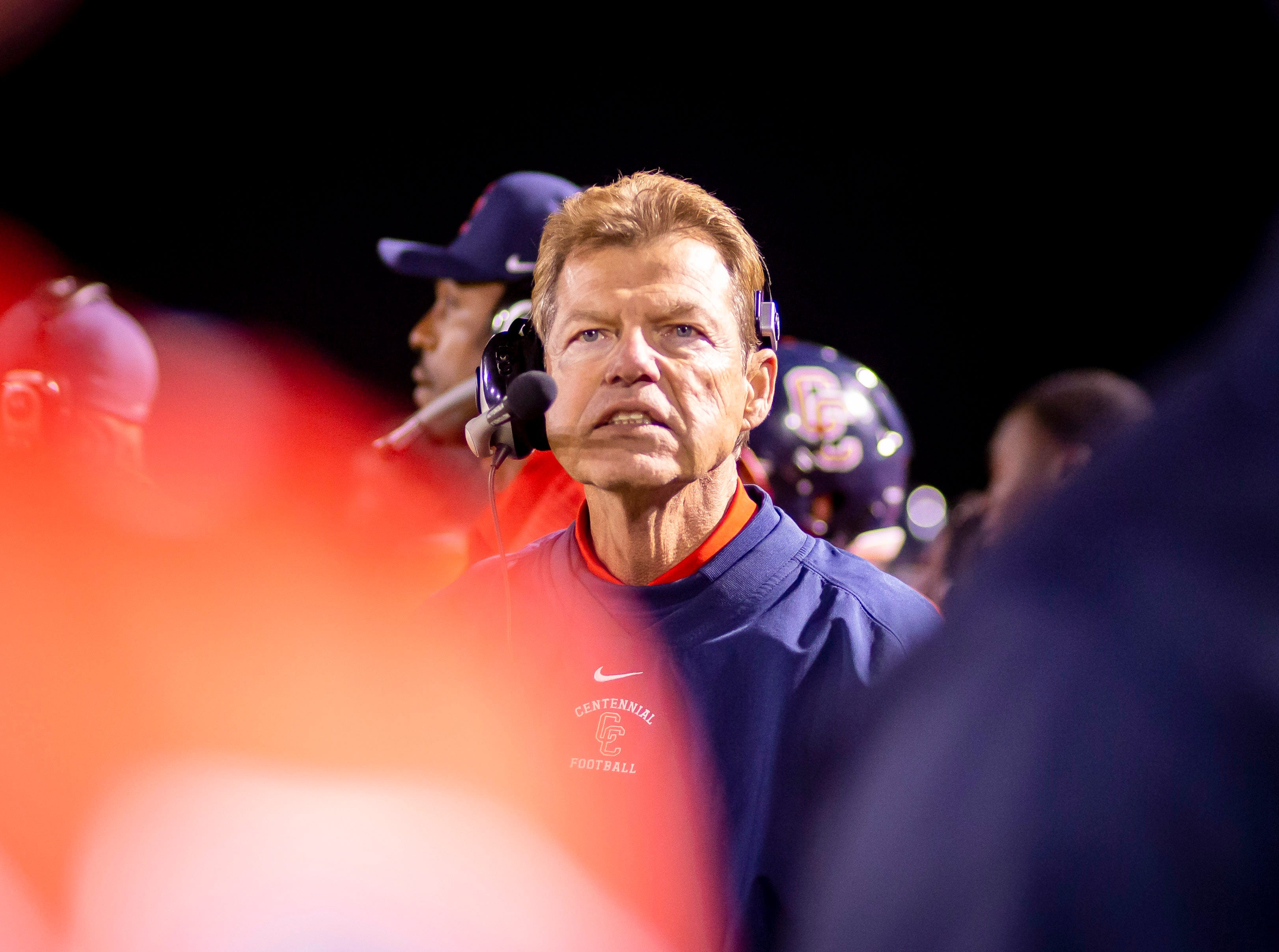Head coach Richard Taylor of the Centennial Coyotes during the 5A semi-finals against the Higley Knights at Willow Canyon High School on Friday, November 16, 2018 in Surprise, Arizona. #azhsfb