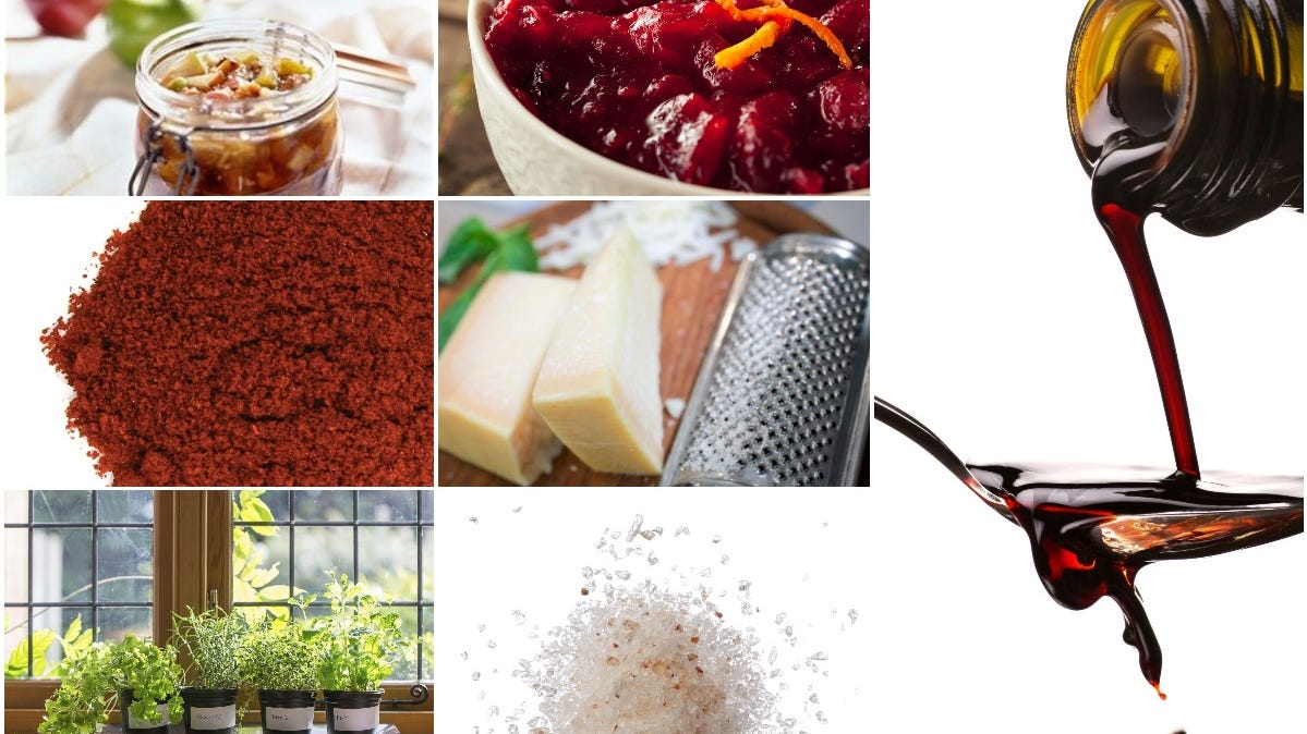 Flavor boosters pictured include apple chutney, orange zest on cranberry sauce, smoked paprika, grated Parmesan cheese, herbs, pink salt and balsamic glaze.