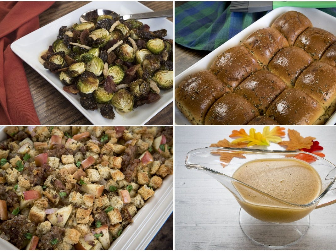 Phoenix chef Robin Miller's four Thanksgiving dishes from top left are roasted Brussels sprouts, herb-buttered rolls, apple-sausage stuffing and savory turkey gravy. Find her recipes online at azcentral.com.