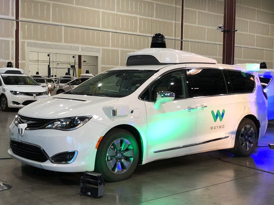 """A Waymo car at the """"Tie One On for Safety"""" event in Chandler on Nov. 16, 2018."""